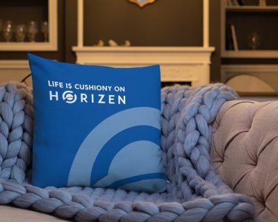 """Life is Cushiony on Horizen"" Premium Throw Pillow"